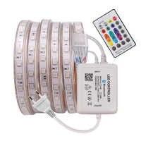Music RGB Strip LED Light 5050 SMD 220V 110V AC 60LED 120LED Waterproof Flexible Strip Home Decoration Lamp 24key Remote Control