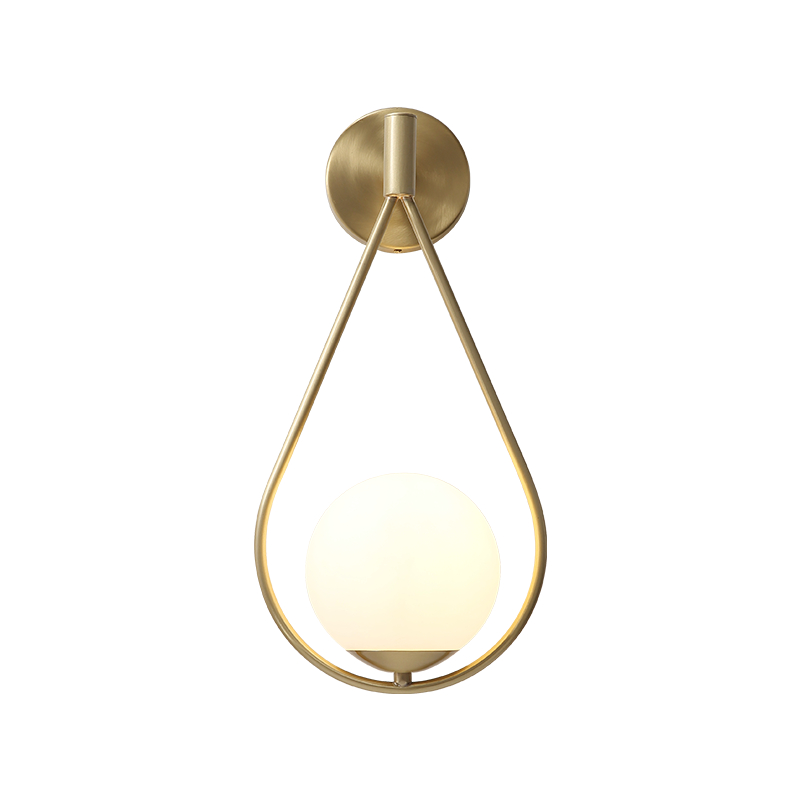 Nordic Modern Bedside LED Wall Lamp Water Drop Art Brass Foyer Background Bedroom Restaurant Aisle Wall Sconce Lighting Glass