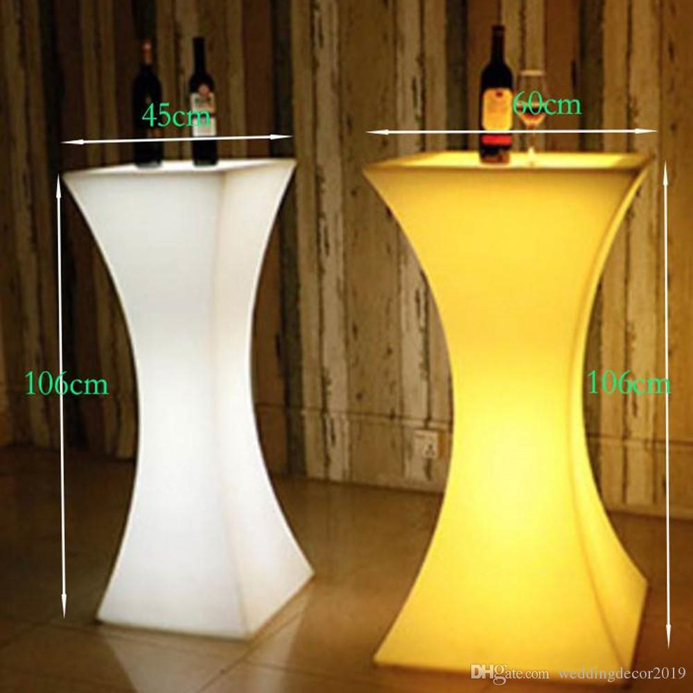2019 Newest Rechargeable LED High End Cocktail Table Plastic Bar Coffee Table Commercial Bar Furniture Bar Stools