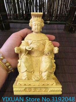 Caja de madera tallada para decoración feng shui, Hogar, Accesorios de coche, regalo, Buda, Mazu, diosa del cielo
