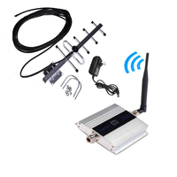 Alloy LCD GSM 900MHz Mobile Cell Phone Signal Repeater Booster Amplifier Cellular Repeater Device + LCD Display Yagi Set