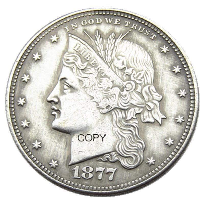 Eua 1877 cornet cabeça meio dólar padrões banhado a prata cópia moeda