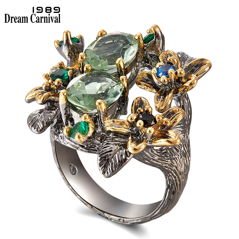DreamCarnival 1989 Stunning CZ Rings for Women Engagement Party Vintage Flower Ring Eye Catching Olivine Zircon Jewelry WA11688(China)