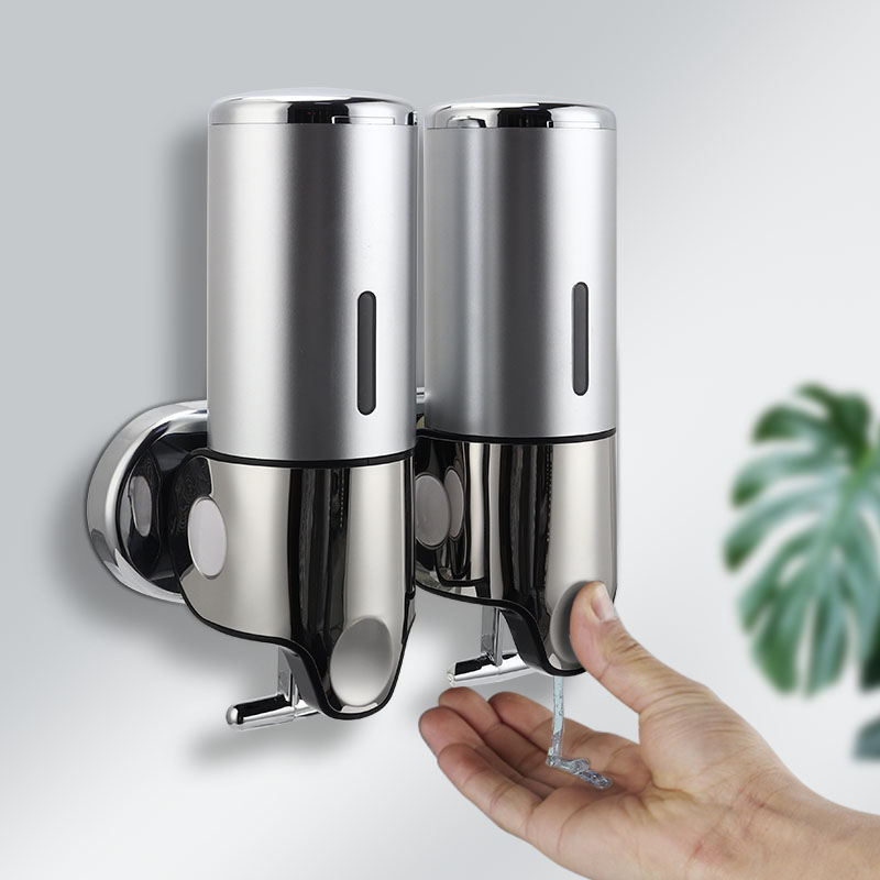Liquid Soap Dispenser Wall Mounted Shower Gel Dispensers Shampoo Container Pump Double Hand Bathroom Soap Bottle Kitchen Tools