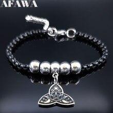Wicca – Bracelet à breloques en acier inoxydable pour femmes, bijou de couleur noire, B1793, 2021