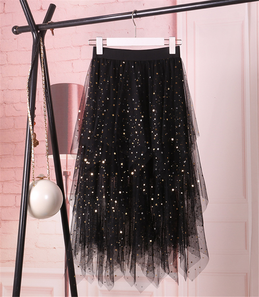 Women's High Waist Pleated Skirt Sparkle Lady Tulle Skirt Cute Sweet Girls Dance Skirt Skirts Womens Faldas Summer Mid-length