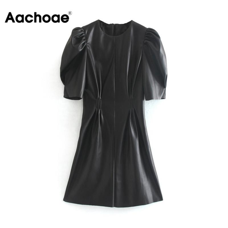 Aachoae Faux Leather Dress Women Sexy Club Puff Short Sleeve Bodycon Party Dress Vintage Pleated Tunic Black Mini Dress Vestidos
