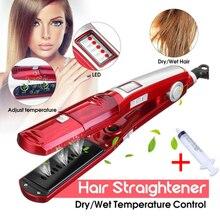 Паровой выпрямитель для волос Электрический Плоский Утюг steampod Керамический выпрямитель волос Инструменты для укладки kemei выпрямляющая пластина вафли 4