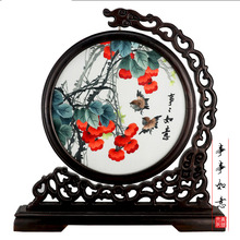 Round Screens Glass Antique Mini Screen Ornaments Room Divider Art Crafts Desktop Decoration Chinese Vintage