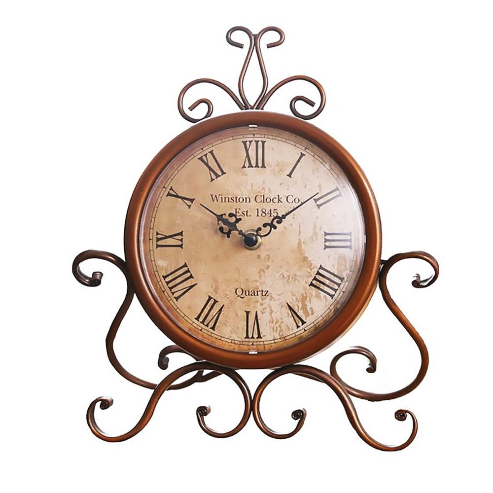 European Style Imitated Vintage Wrought Iron Table Clock Quartz Clock Desk Clockwatch decoration home desk clock Copper clock