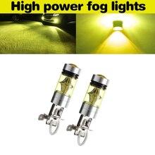 2 Pcs Car H3 100W Fog Light Yellow 2323 LED DRL Projector Lamp Bulb 4300K For Fog/ Driving lights/ Daytime Running Light DRL