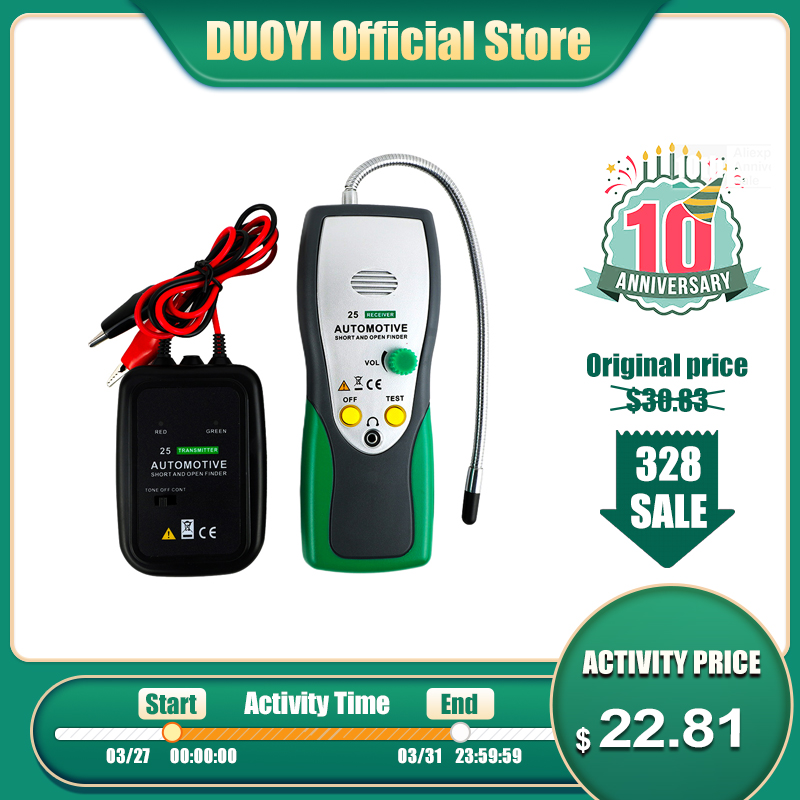 DUOYI DY25 Automotive Short&Open Circuit Finder Tester Cable Tracker Car Repair Tool Tracer Diagnose Cables/Wires PK EM415pro
