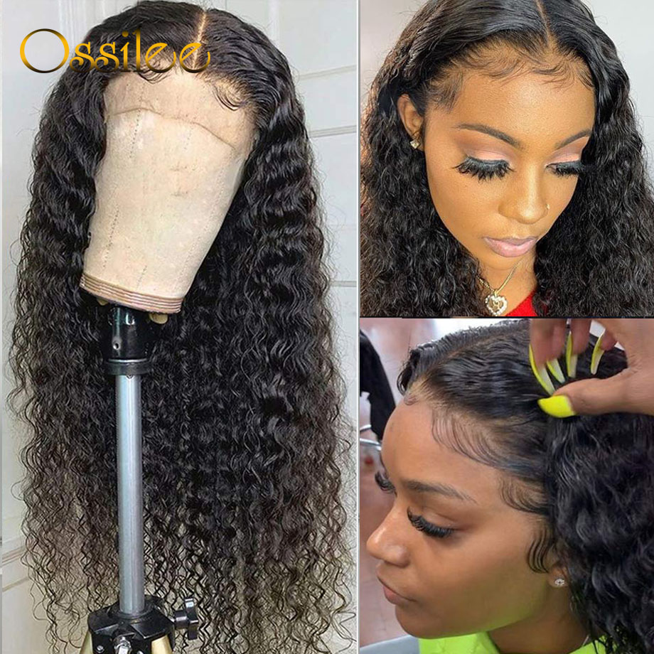 13x4 Lace Front Human Hair Wigs Deep Wave Wig Brazilian Hair Lace Front Wigs For Women Remy Curly Human Hair Wig 150% Ossilee