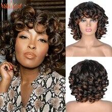 Pelucas Afro rizadas de pelo corto con flequillo para mujeres negras, cabello sintético africano ombré, sin pegamento, Cosplay, Alta Temperatura