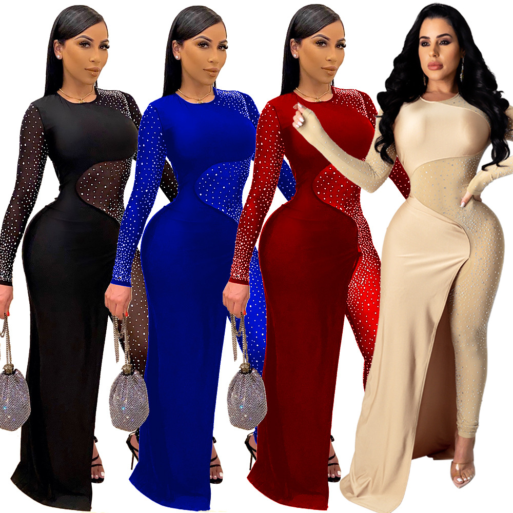 Felyn 2020 Ins Internet Celebrity Famous Jumpsuits Sparkly Diamond Mesh Patchwork Sexy Night Club Jumpsuits