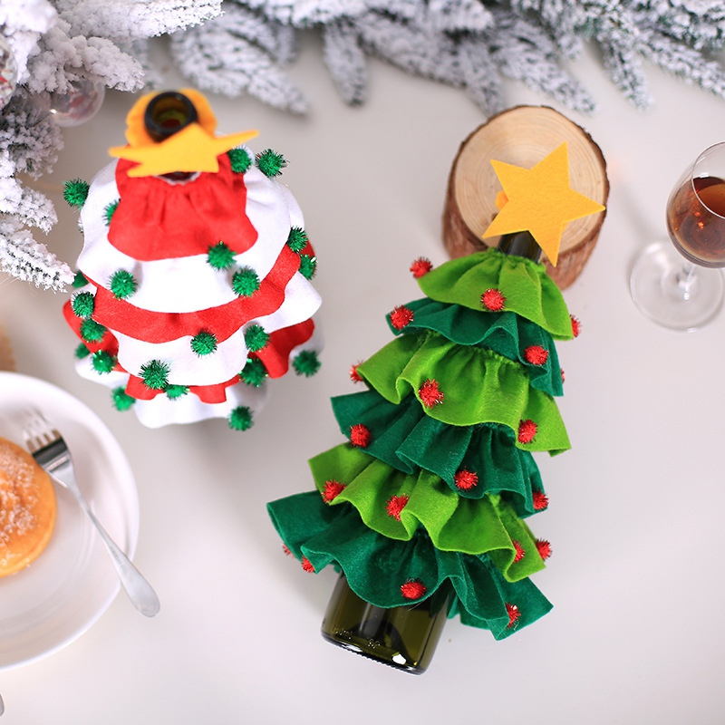 Christmas Wine Bottle Stopper Xmas Tree Design Wine Bottle Corks Cover Set Christmas Party Holiday Dinner Sealing Cap Decoration