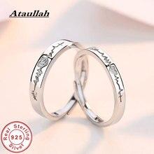 Ataullah Couple Ring Silver 925 Jewelry Electrocardiogram Wave Heartbeat for Lovers Women Men Female Alliance Bijoux RW063