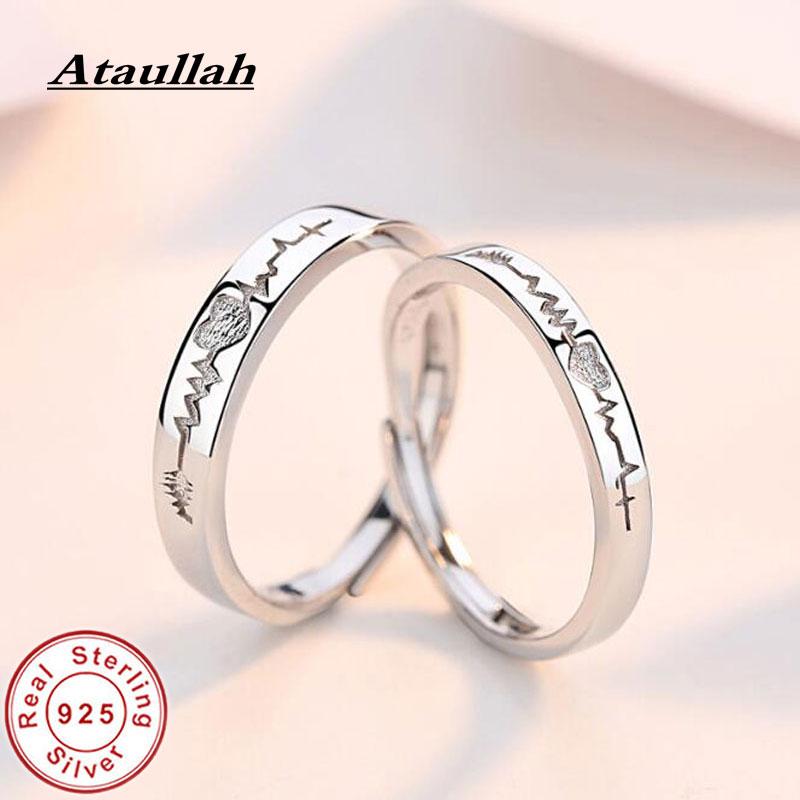 Ataullah Couple Rings Silver 925 Jewelry Electrocardiogram Wave Heartbeat Ring For Lovers Women Men Female Alliance Bijoux RW063