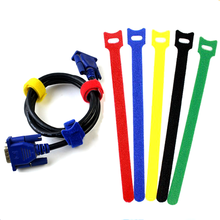 100Pcs Nylon Cable Ties Self Adhesive Hook Loops Tape Wire Strap Cord Wrap Fastening Cable Organizer PC Line Management 12x200mm