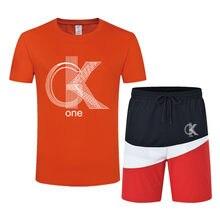 Футболка-шорты Мужская с надписью CK, брендовая летняя спортивная одежда с коротким рукавом, жилет для бега, хлопковая спортивная одежда, 2021