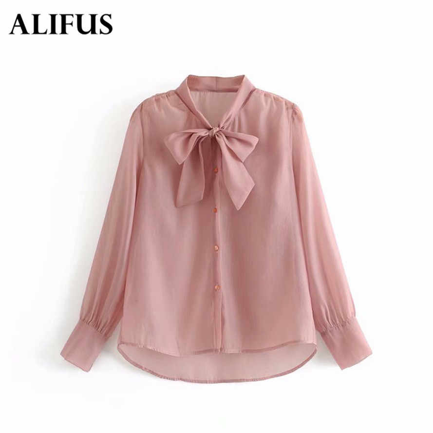 Fashion Za Elegant Bow Tie Women Shirt Spring Autumn Ladies Solid Long Sleeve Chiffon Shirts Casual Blouses Casual Tops Blusas