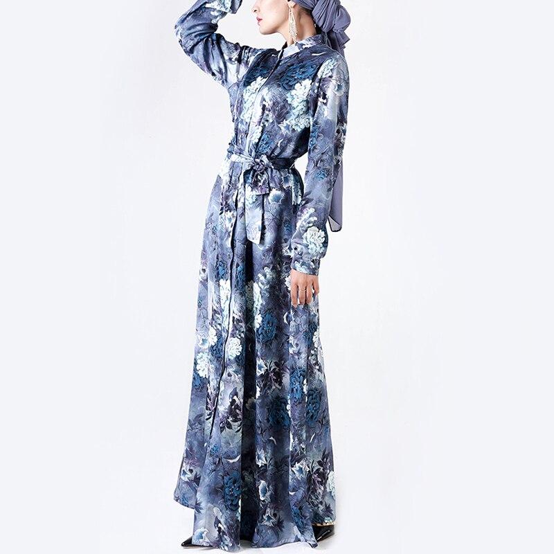 2019 MMuslim Abaya Elegant Flower Printed Women Dresses Cardigan Button Fashion Islamic Clothing Long Female Robe Casual