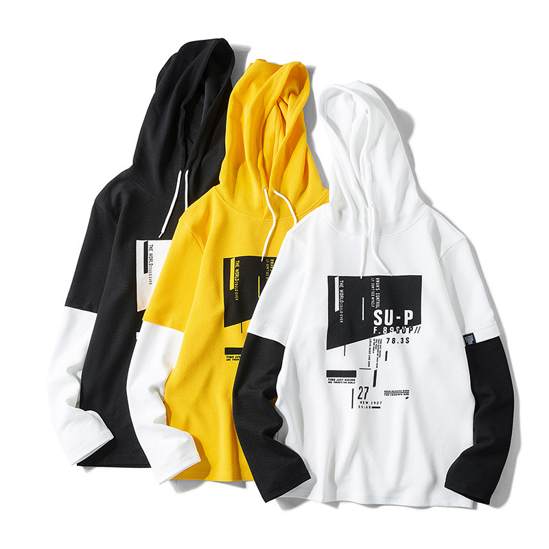 Men's Long Sleeve Hoodie Spring And Autumn 2020 Korean Version Loose Fashion Holiday Two Pieces Of Casual Hooded Thin Section