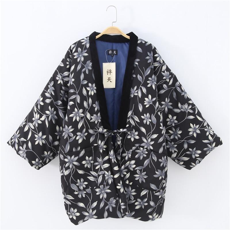 Haori Woven Cotton Japanese Style Kimono Pajama Jacket Men And Women Warm Jacket Coat Winter Top Mujer Yukata Asian Clothes