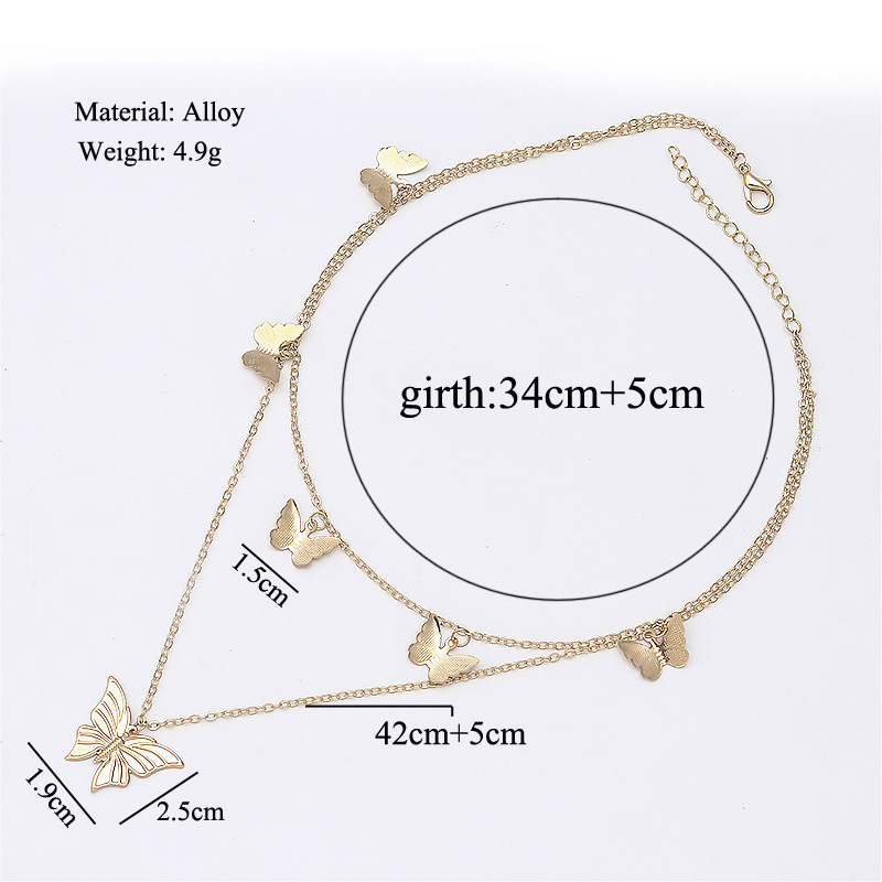Fashion New Double Chain Butterfly Pendants Necklaces for Women Gold Silver Color Layered Necklace Female Clavicle Chain Short
