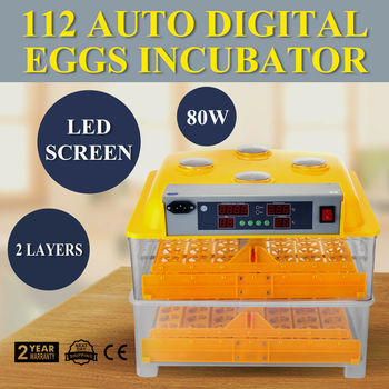 Egg Incubator And Hatcher 112 Eggs Incubators For Hatching Eggs 80W Digital Automatic Turning Poultry Chicken Duck Dove Quail