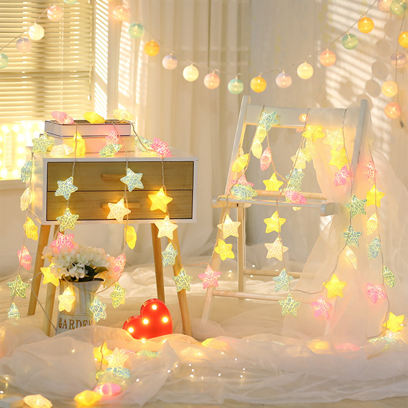 WENHSIN LED Multicolor Star String Lights Christmas Decoration Garland Light Home Baby Kids Bedroom Wedding Birthday Party Deco
