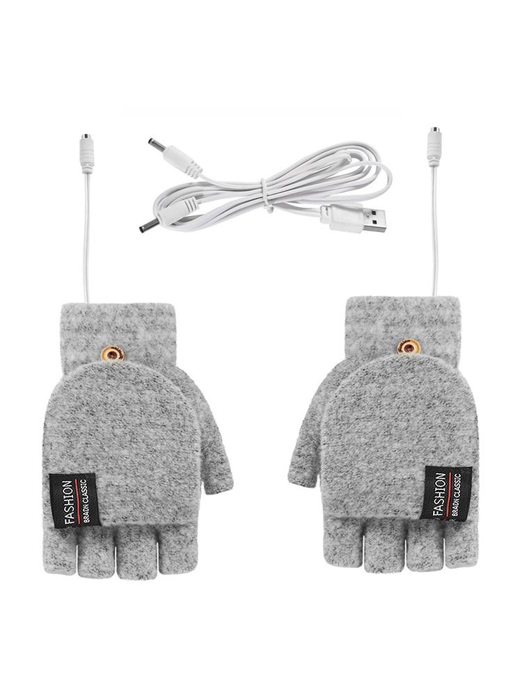 Перчатки с USB-подогревом для мужчин и женщин, трикотажные моющиеся перчатки для работы, офиса, школы, с моющейся поверхностью, 5 В