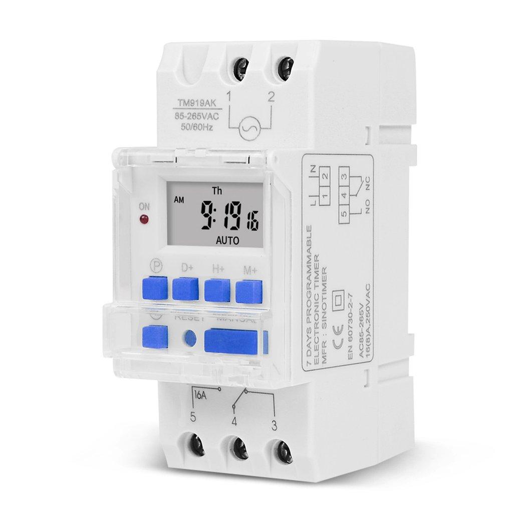 Electronic Weekly 7 Days Programmable Digital TIME Relay Timer Switch Control AC 110V 220V 12V 24V 5V 16A Din Rail Mount THC15A
