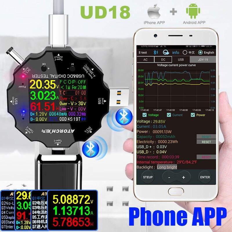 HD Color TFT Type-C USB 3.0 Tester Dc Digital Car Voltmeter Ammeter Voltimetro Power Bank Voltage Detector Electric Volt Meter
