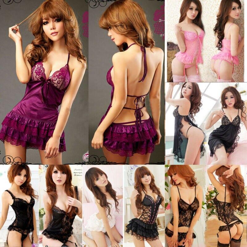 New Style Women Babydolls Sexy Women Lingerie Lace Pure Color Chemises Sleepwear Fancy Dress Mini Sexy Sleepwear Fashion Hot