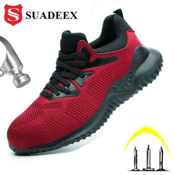 SUADEEX Safety Shoes Men Steel Toe Cap Sneakers Breathable Outdoor Anti-slip Steel Puncture Proof Construction Boots Work Shoes large size men casual comfort mesh steel toe cap work safety summer shoes puncture proof tooling security boots protect footwear