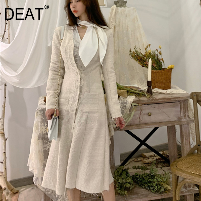 DEAT 2020 Autumn And Winter New Fashion Solid Color V-neck Long Dress Single-breasted Slim Windbreaker Jacket PB516