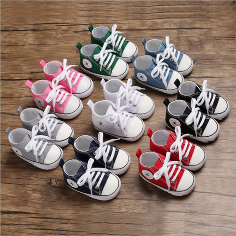 2021 New Baby Toddler Boys Boys Girls Crib Shoes Canvas Tennis Shoes Kids Non-Skid Soles Lace Up Sneaker