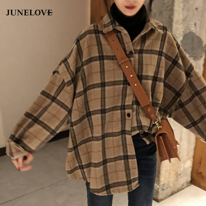 JuneLove Female Spring Street Blouse Shirts Vintage Oversized Plaid Flannel Boyfriend Tunic Shirt for Women Casual Korean Tops