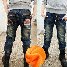 Новая мода Демисезонный джинсы для штаны для мальчиков Дети подросток брюки джинсовые теплые штаны детская Корейская одежда