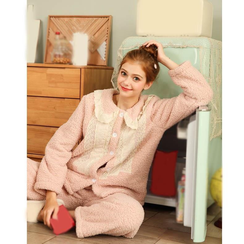 Nouvelle mode femmes nuit costumes hiver automne vêtements de nuit en flanelle ensemble mignon épais chaud dentelle pyjamas ensemble