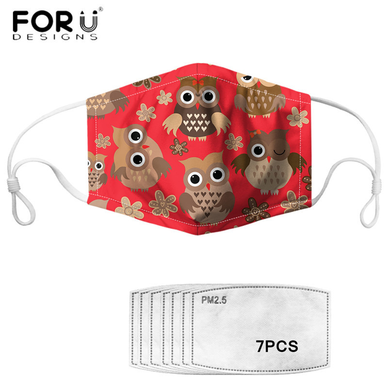 FORUDESIGNS Mouth Face Cover Mask  Cute Owl Pattern Printed Fashion Reusable Elastic Muffle Mask PM 2.5 Respirator Filter