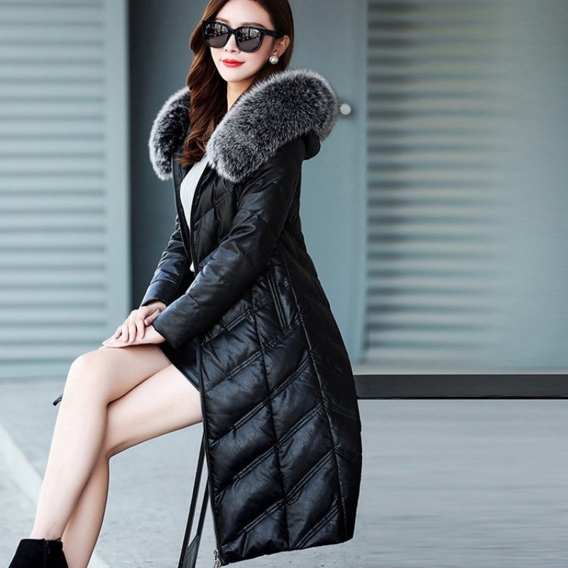 Women Winter Down Jacket Plus Size 5XL Thick Warm Long Leather Jacket Fox Fur Hooded Coat Slim Fit Womens Real Leather Jackets