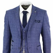 2020 الأزرق رجالي الدعاوى 3 قطعة تويد تحقق الرجال دعوى ساعة جيب مصممة تناسب Peaky بليندرز Terno Masculino