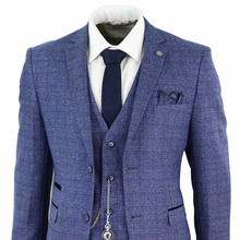 2020 Blue Mens Suits 3 Piece Tweed Check Men Suit Pocket Watch Tailored Fit Peaky Blinders Terno Masculino