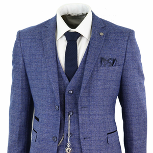 Image 1 - 2020 Blue Mens Suits 3 Piece Tweed Check Men Suit Pocket Watch Tailored Fit Peaky Blinders Terno Masculino