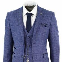 Trajes de hombre azules de 3 piezas de Tweed Check Men, reloj de bolsillo a medida, Peaky Blinders, Terno Masculino, 2020