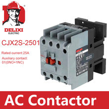 цена на CJX2s-2501 AC Contactor DELIXI 25A 3 Poles NC Normal Closed Coil Voltage 24V 36V 110V 220V 380V 50Hz Din Rail Mounted