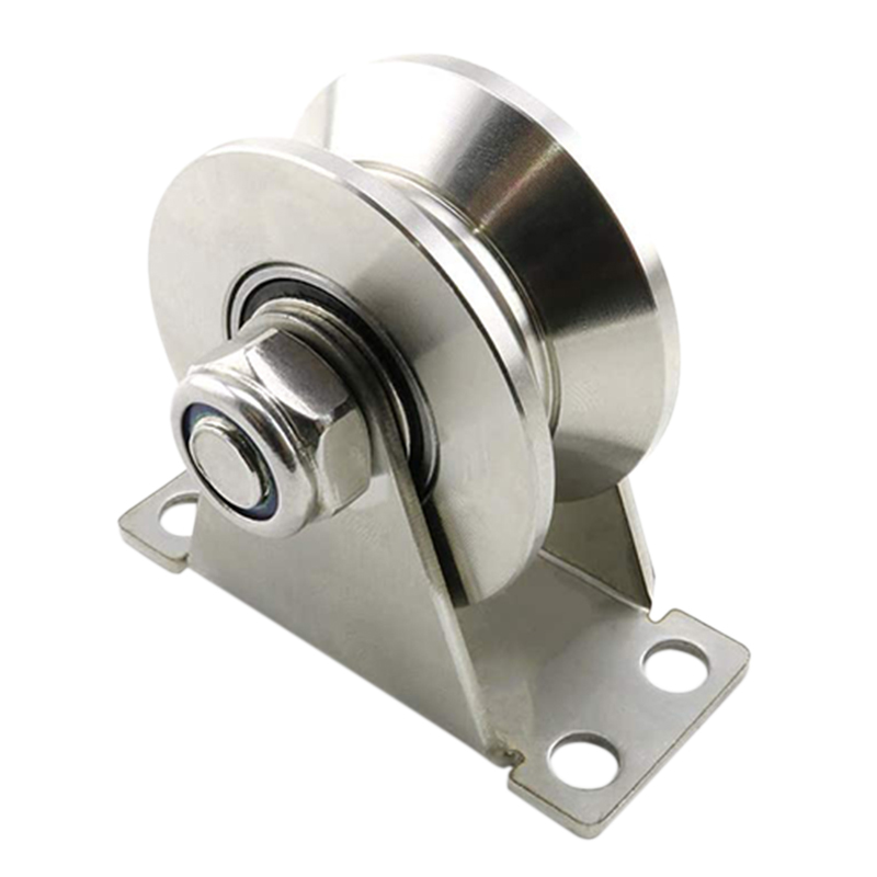 1Pack U-Type Stainless Steel Pulley Block Mute Bearings Groove Sliding Roller Track Wheel