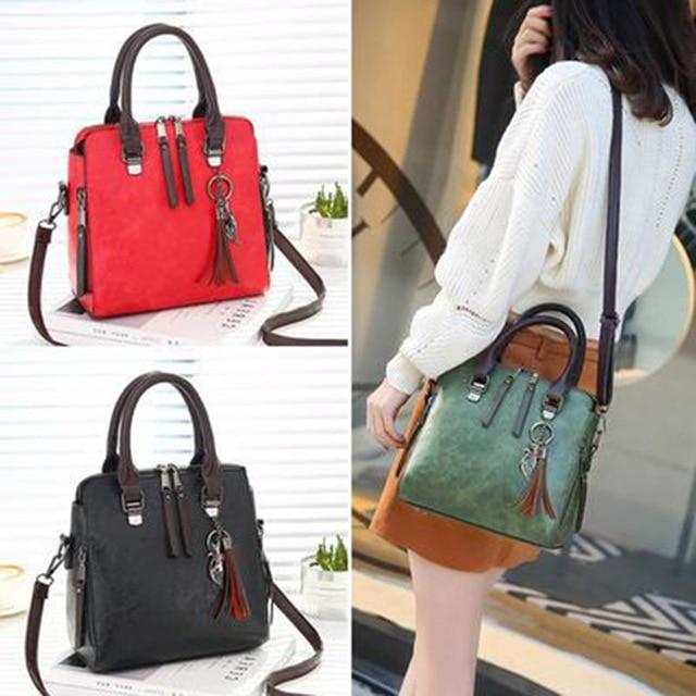 Luxury Vintage Ladies Leather Hand Bag Totes Tassel Crossbody Bag 2